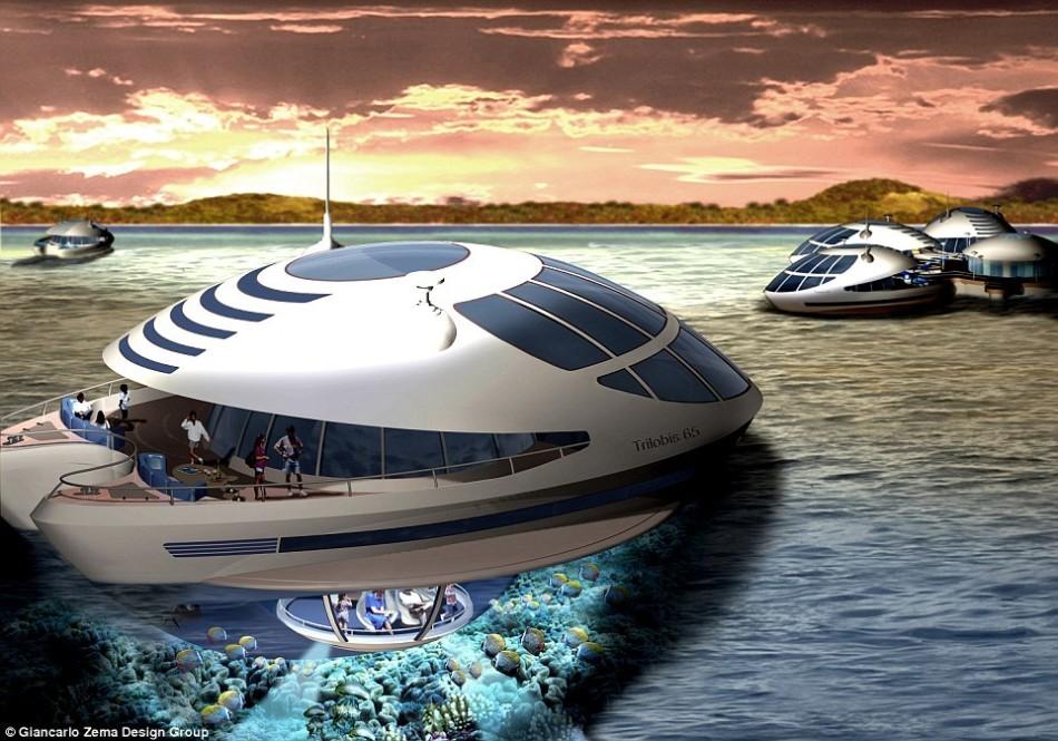 这艘圆形生态游艇长度约65英尺(约合20米),可以360度旋转,能够容纳六人。它共有四层,中间由螺旋楼梯相连。