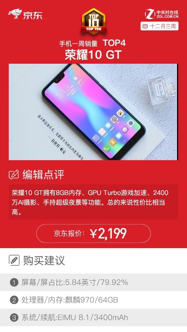 京东一周手机销量榜 荣耀8C玩转年底